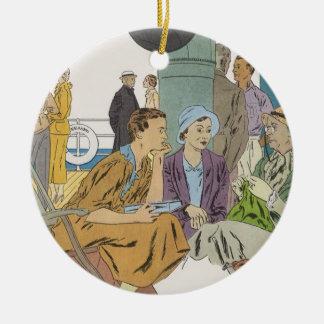 Vintage Ferien, Passagier-Kreuzfahrt-Schiff auf Rundes Keramik Ornament