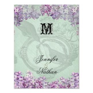 Vintage Fliedernlocket-Hochzeit UAWG Karte 10,8 X 14 Cm Einladungskarte
