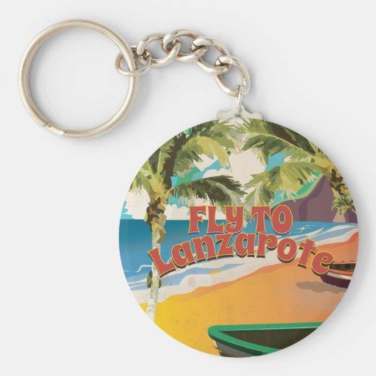 Vintage Fliege zum Lanzarote-Reise-Plakat Standard Runder Schlüsselanhänger