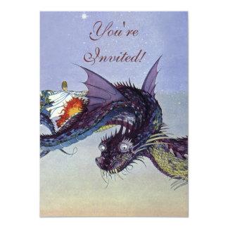 Vintage Fliegen-Drache-mythische Illustration 11,4 X 15,9 Cm Einladungskarte