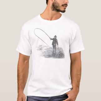 Vintage Fliegen-Fischen-Kunst T-Shirt