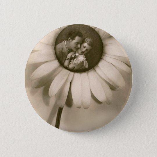Vintage Flower Love Runder Button 5,7 Cm