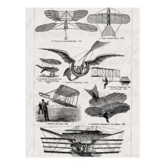 Vintage Flugzeug-Flugzeug-Luftschiff-Retro Postkarte