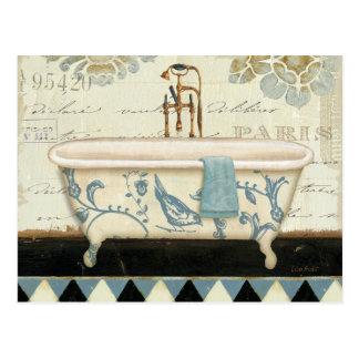 Vintage französische Badewanne Postkarte