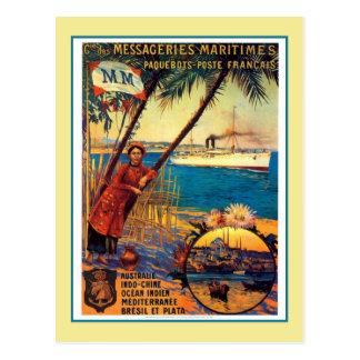 Vintage französische Ozeankreuzfahrt-Reisewerbung Postkarte