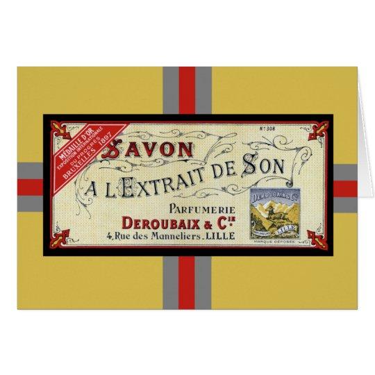 Vintage französische Seifen-Karte Karte