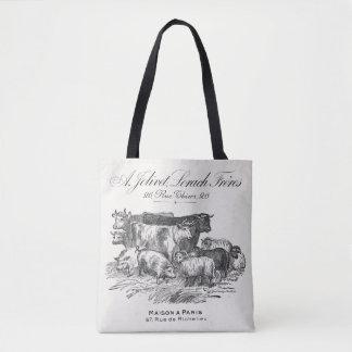 Vintage französische Taschentasche der Vieh 16x16 Tasche