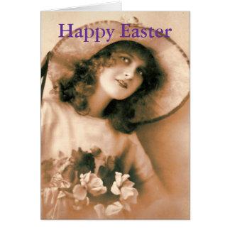 Vintage Frau mit Ostern-Mütze Karte