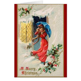 Vintage Frohe Festtage 1910 Karte