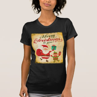 Vintage frohe Weihnachten Daning Sankt und Elf T-Shirt