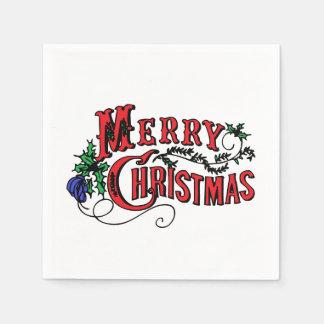 Vintage frohe Weihnachten Papierserviette