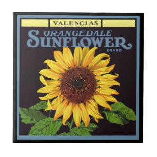 Vintage Frucht-Kisten-Aufkleber-Kunst Orangedale Kleine Quadratische Fliese