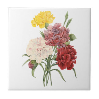 Vintage Gartennelkendianthus-Garten-Blumen Redoute Keramikkachel