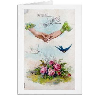 Vintage Geburtstags-Gruß-Hände und Vögel Karte
