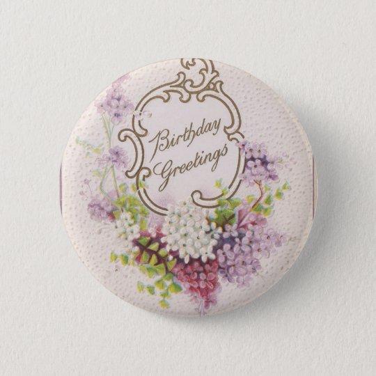 Vintage Geburtstags-Grüße Runder Button 5,7 Cm