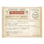 Vintage Geburtstagstelegrammeinladung Ankündigungskarten