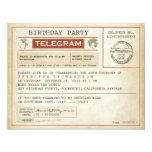 Vintage Geburtstagstelegrammeinladung 10,8 X 14 Cm Einladungskarte
