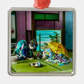 Vintage Geisha-Grüße über Tee altes Japan Silbernes Ornament