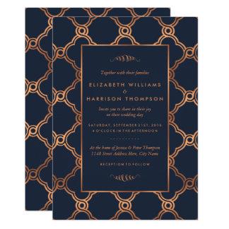 Vintage geometrische Kunst-Deko Gatsby Hochzeit Karte