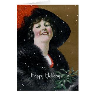 Vintage glückliche Feiertags-Karte Grußkarte