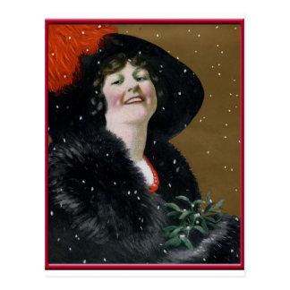 Vintage glückliche Feiertags-Karte Postkarte