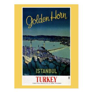 Vintage goldene Reise Horn-Istanbuls die Türkei Postkarte