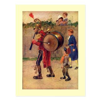 Vintage Grafik, die eine ein Mann-Band-Postkarte Postkarte
