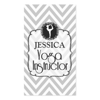 Vintage Gray Chevron Yoga Instructor Card Business Cards