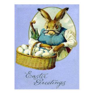 Vintage Großmutter-Häschen-Ostern-Karte Postkarte