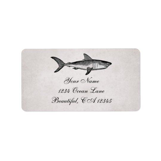 Vintage Haifisch-Ozean-Strand-Adresse Adress Aufkleber