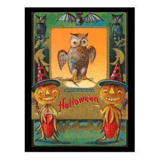 Vintage Halloween-Eule Postkarte