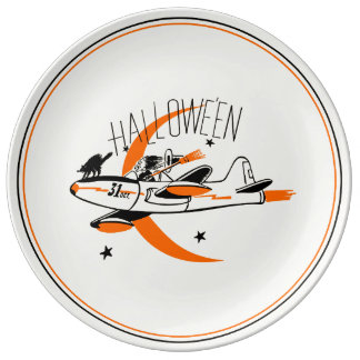 Vintage Halloween-Hexe, die ein Flugzeug fliegt Teller Aus Porzellan