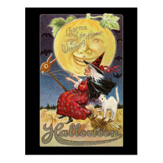 Vintage Halloween-Hexe-Mond-Postkarte Postkarte