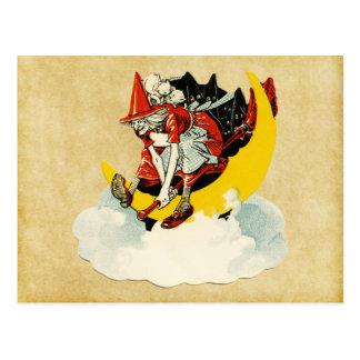 Vintage Halloween-Hexe Postkarte