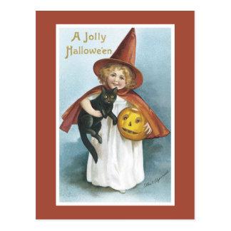 Vintage Halloween-Hexe-schwarze Katzen-Postkarte Postkarte