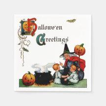 Vintage Halloween-Hexe-Serviette