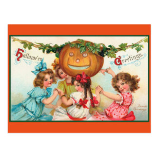 Vintage Halloween-Tänzer Postkarte