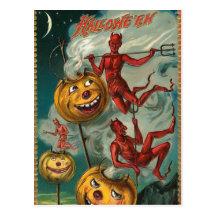 Vintage Halloween-Teufel-Einladungs-Postkarte
