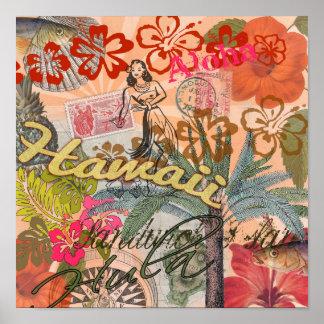 Vintage Hawaii-Reise-buntes hawaiisches tropisches Poster