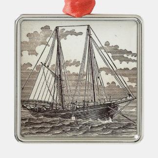 Vintage Heilbuttschooner-Verzierung Quadratisches Silberfarbenes Ornament