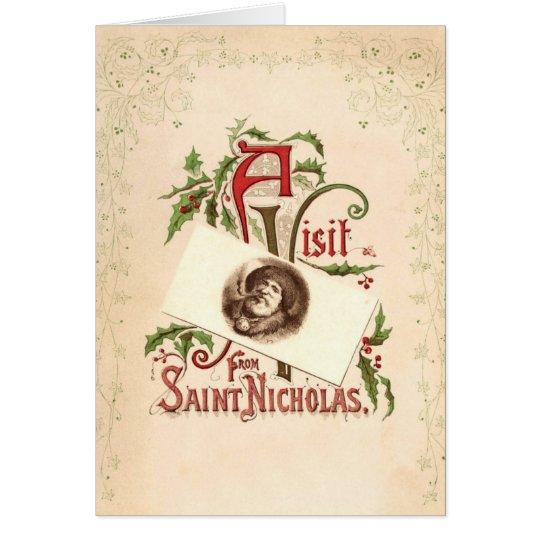 Vintage Heilig-Nicholas-Weihnachtsgruß-Karte Grußkarte