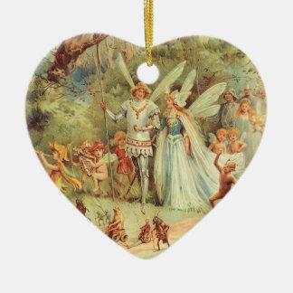 Vintage Heirat von Thumbelina und von Prinzen Keramik Herz-Ornament