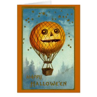 Vintage Heißluft-Ballon-Karte Halloweens Karte