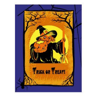 Vintage Hexe-Halloween-Postkarten Postkarte