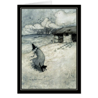 Vintage Hexe Halloweens Arthur Rackham + Schwarze Grußkarte