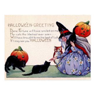 Vintage Hexe-schwarze Postkarte