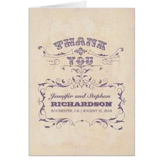Vintage Hochzeit danken Ihnen Karten