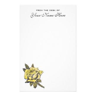 Vintage Hochzeit, gelber antiker Garten-RoseWreath Briefpapier