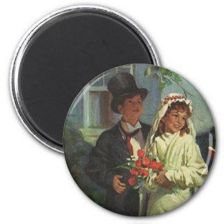 Vintage Hochzeit, Kinder täuschen Braut und Runder Magnet 5,1 Cm