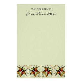 Vintage Hochzeit, Kolibris und Blumen Briefpapier